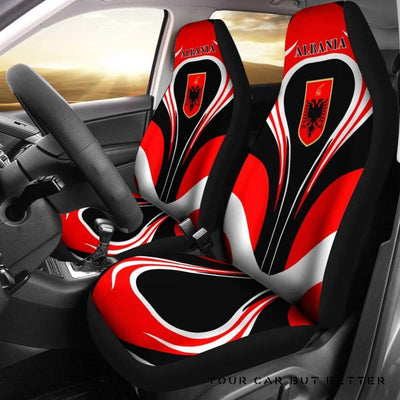 Albania Flag Car Seat Covers Cannon Style Bn101 - Cute Design, Universal Fit