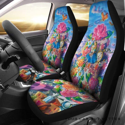 Alice In Wonderland Car Seat Covers Disney Princess Cartoon - Cute Design, Universal Fit