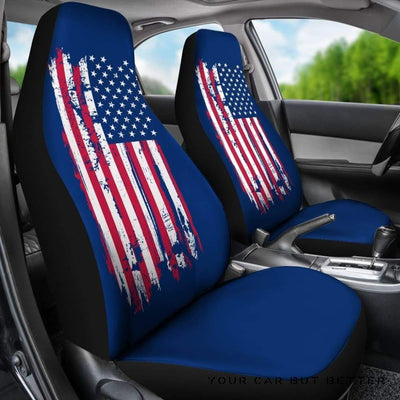 American Flag On Blue - Car Seat Covers (Set Of 2) - Cute Design, Universal Fit