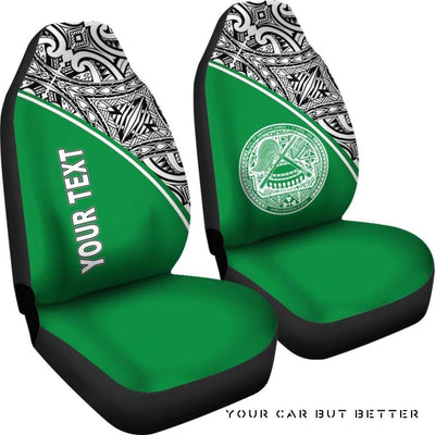 American Samoa Polynesian Custom Personalised Car Seat Covers Green Curve Bn12 - Cute Design, Universal Fit