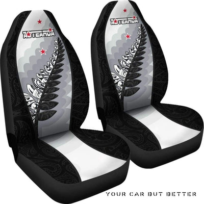 Aotearoa Maori Silver Fern Car Seat Covers A02 - Cute Design, Universal Fit