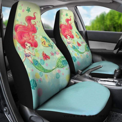 Ariel & Flounder Funny Disney Cartoon Car Seat Covers - Cute Design, Universal Fit