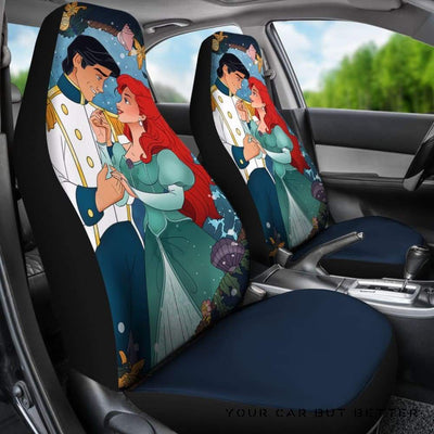 Ariel Love Eric Car Seat Covers The Little Mermaid Cartoon - Cute Design, Universal Fit