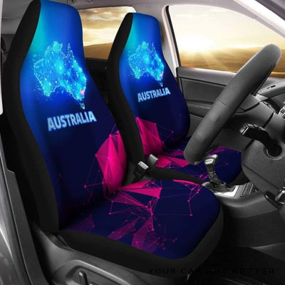 Australia Car Seat Covers Glowing Polygon Style Bn14 - Cute Design, Universal Fit