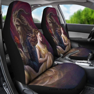 Belle Art Car Seat Covers Beauty And The Beast Cartoon - Cute Design, Universal Fit