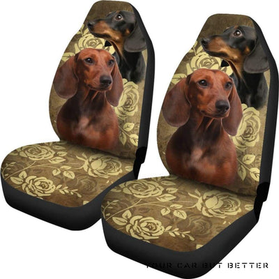 Dachshund Car Seat Covers (Set Of 2) Bn - Cute Design, Universal Fit
