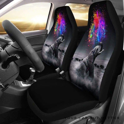 Elephant Rain Bow Car Seat Covers - Cute Design, Universal Fit