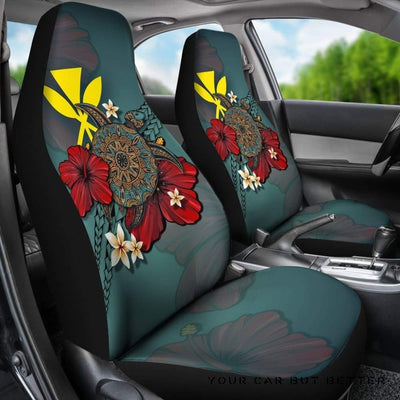 Kanaka Maoli (Hawaiian) Blue Turtle Tribal A24 (Set Of 2) - Honda Civic Seat Covers, Customize Car Seats Covers