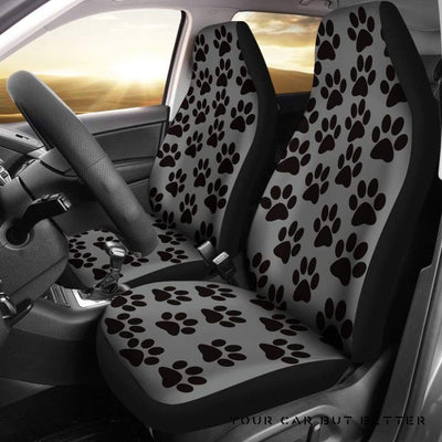 Paw Print Car Seat Covers Grey/Black - Cute Design, Universal Fit