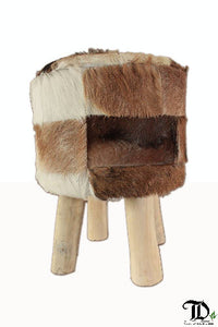 Goat-hide Patchwork Stool