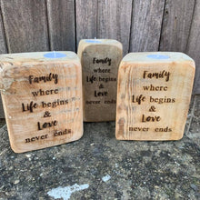 Load image into Gallery viewer, Family - Reclaimed wood tealight holder