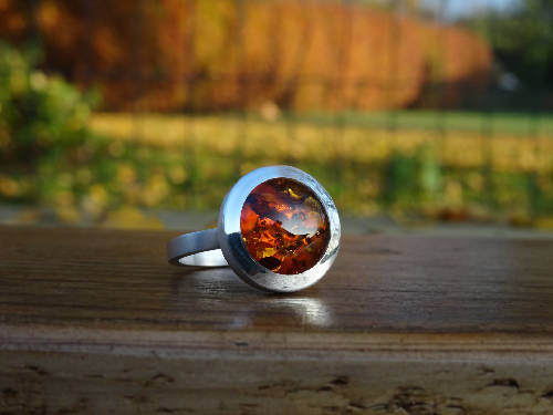 Handmade Amber Ring in Sterling Silver