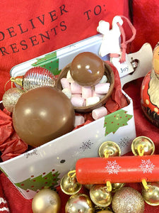 Box of 4 Alcoholic Christmas Pudding detailed Hot Chocolate Bombs
