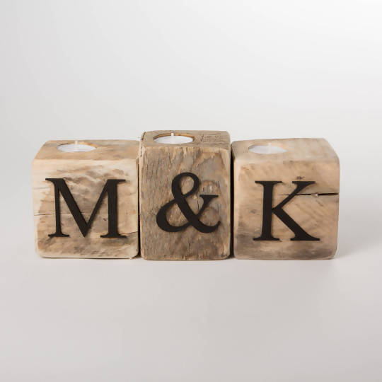 Initials - Upcycled Wooden Pallet Blocks, Tea Light Holders