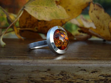 Load image into Gallery viewer, Handmade Amber Ring in Sterling Silver
