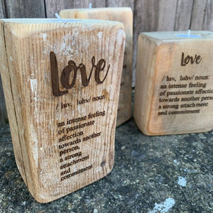 Love Definition - Reclaimed wood tealight holder