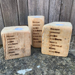 Heaven quote - Reclaimed timber candle holder
