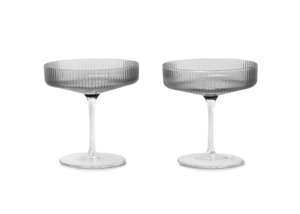 Ripple Champagne Saucers 2er-Set / Smoked Grey