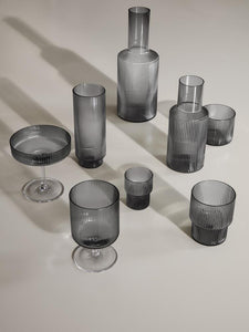 Ripple Small Glasses 4er-Set / Smoked Grey