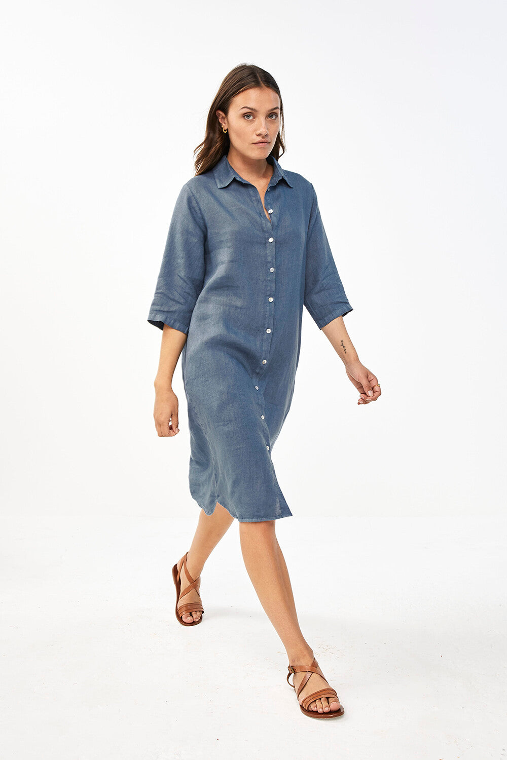 Bodil Linen Dress / Oil Blue