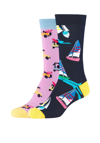 Damen Crew Socks Sailboats & Vehicles 2er Pack