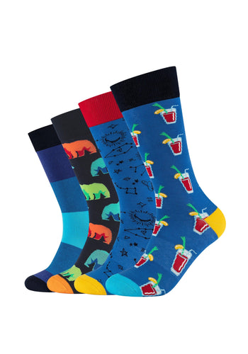 Herren Crew Socks Blue Fun Box 4er Pack