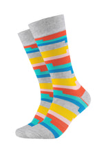 Lade das Bild in den Galerie-Viewer, Herren Crew Socks Colour stripes 2er Pack