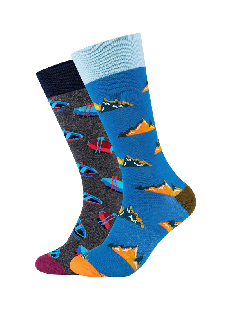 Herren Crew Socks Mountain & Rowboat 2er Pack