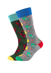 Herren Crew Socks Moose & Christmas Sloth 2er Pack