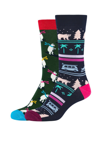 Damen Crew Socks California Winter & Skiing Polar Bear 2er Pack