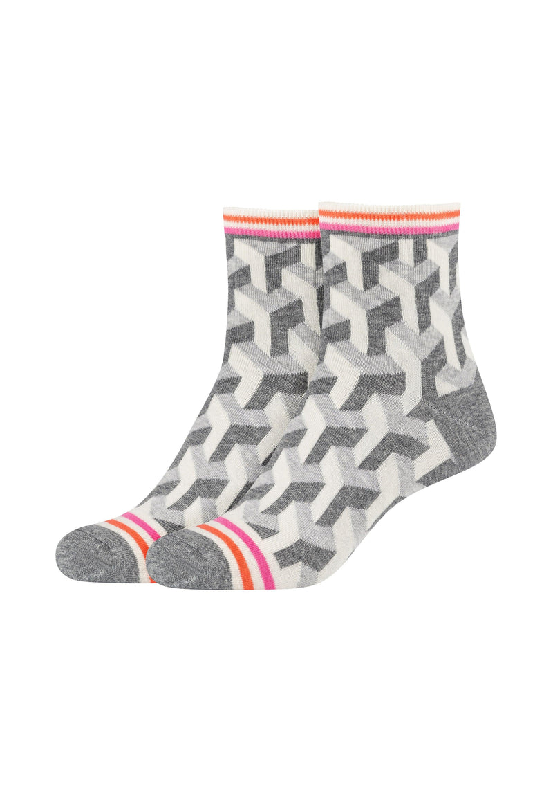 Damen Anklet Socks Illusion Pattern 2er Pack