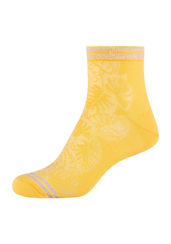 Damen Anklet Lurex Socks Yellow leafs 2er Pack