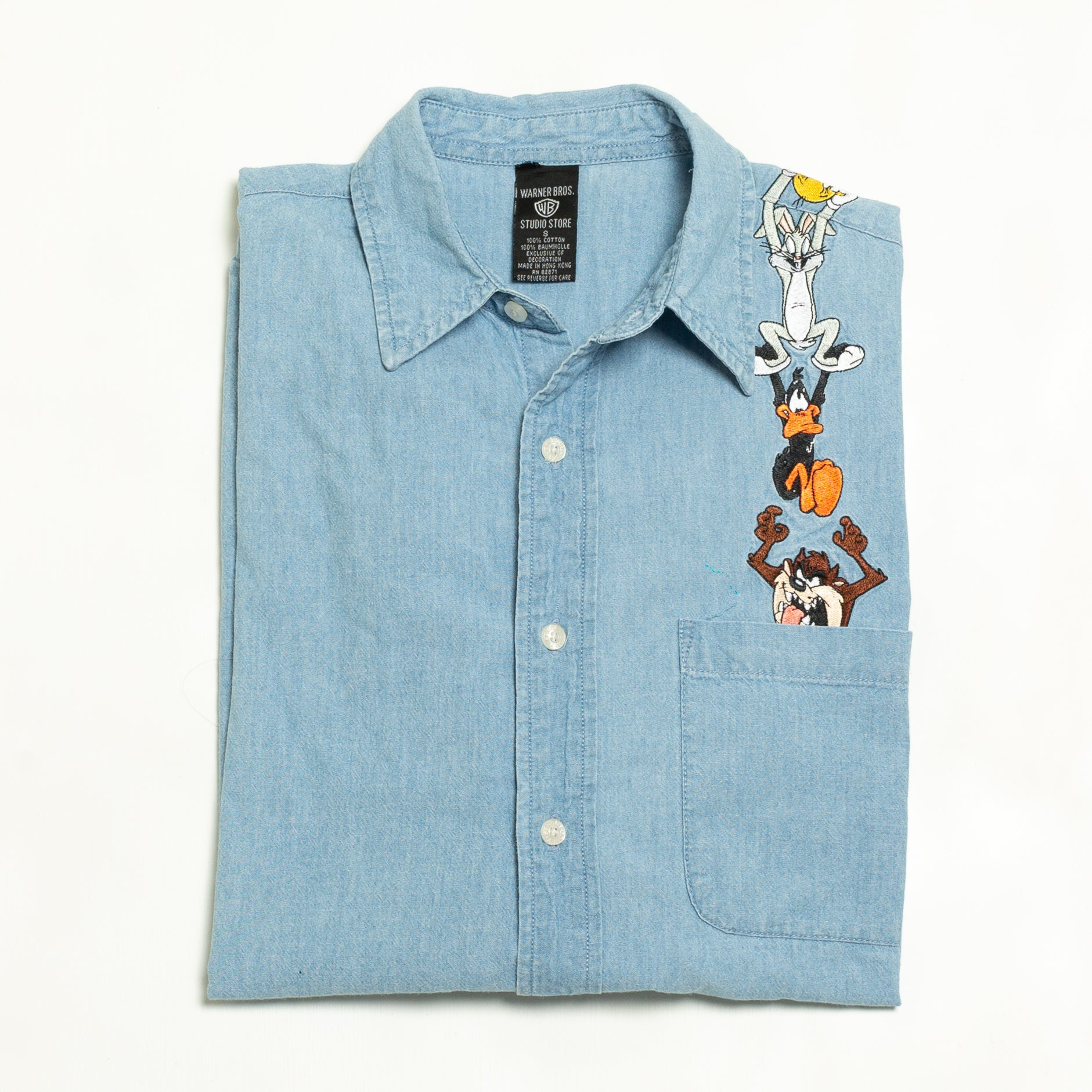 1998 Looney Tunes Denim Button Up Long Sleeve Shirt