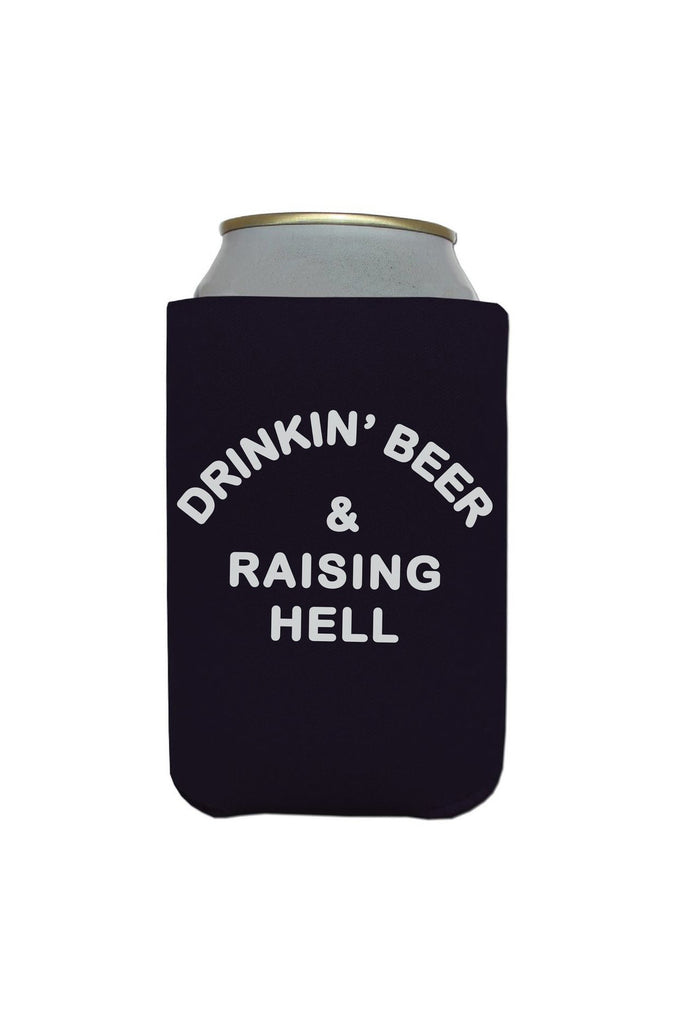 Drinkin' Beer & Raising Hell Koozie - REBEL SOUL COLLECTIVE FEMINIST GRAPHIC TEES