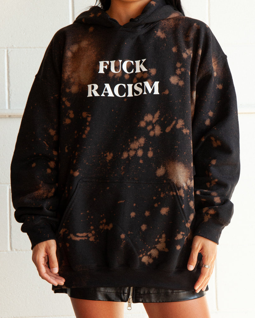 Custom Sweatshirt - Fuck Racism Hoodie - Black - REBEL SOUL COLLECTIVE FEMINIST GRAPHIC TEES