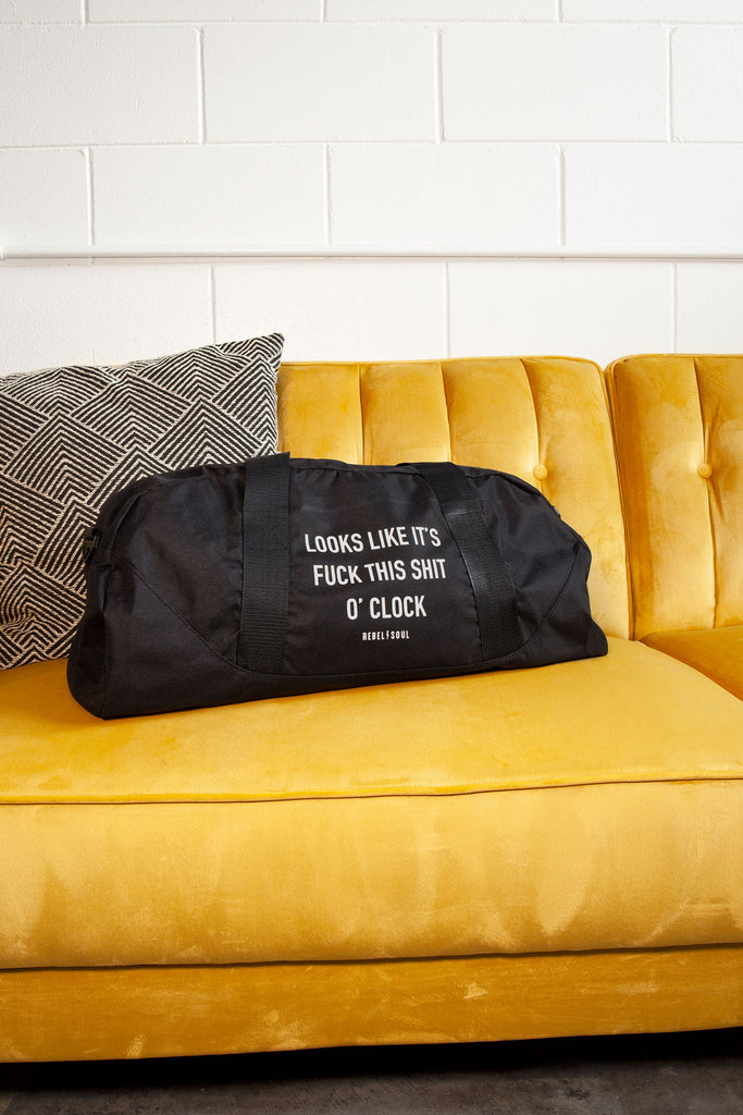 O'Clock Black Duffle Bag - REBEL SOUL COLLECTIVE FEMINIST GRAPHIC TEES