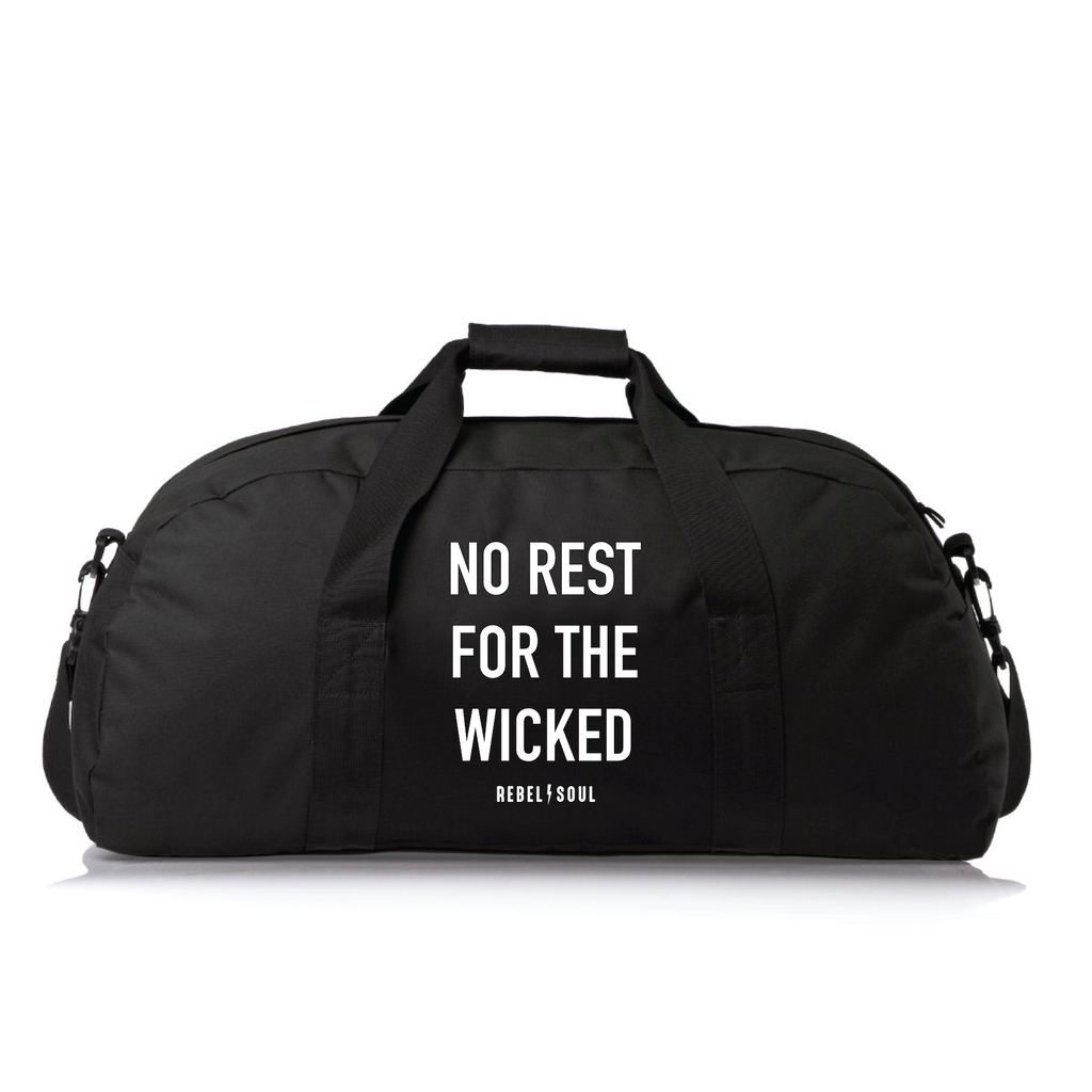 NO REST FOR THE WICKED DUFFLE BAG