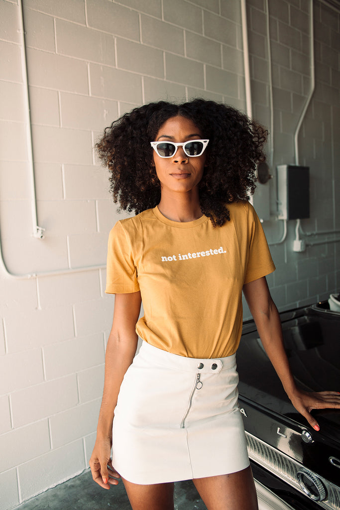 Not Interested Tee - REBEL SOUL COLLECTIVE FEMINIST GRAPHIC TEES