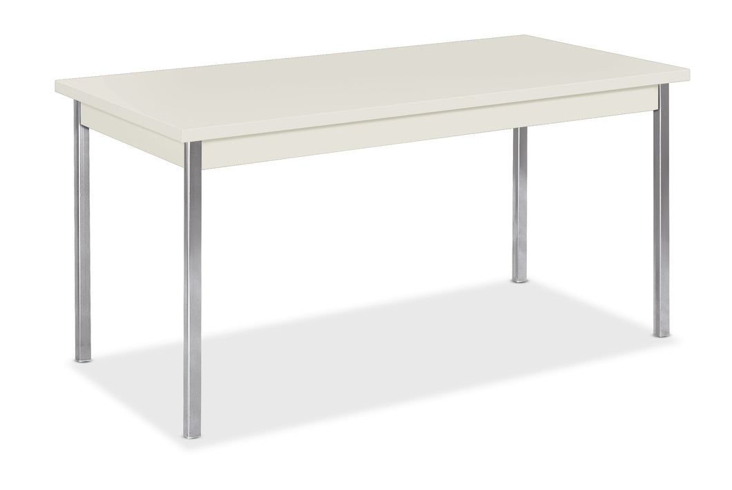 Simple Table Desk With Chrome Legs - bluespaceinteriors office furniture los angeles