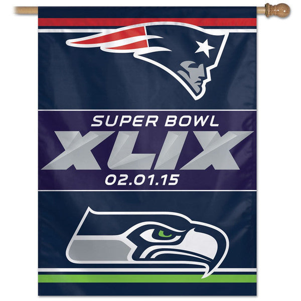 Super Bowl XLIX Dueling Logo Vertical Flag