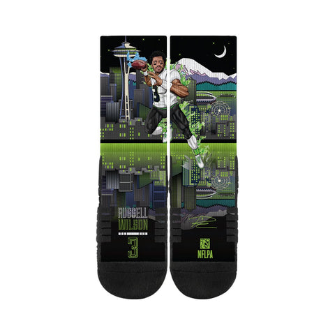 Seahawks Super Hero Russell Wilson Socks