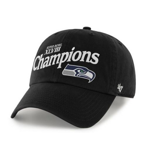 Seahawks Super Bowl XLVIII Champions Black Adjustable