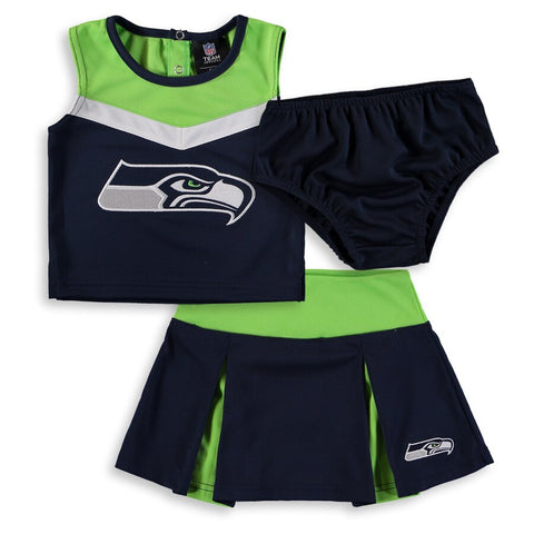 Seahawks Girls Toddler Two-Piece Spirit Cheerleader Set with Bloomers