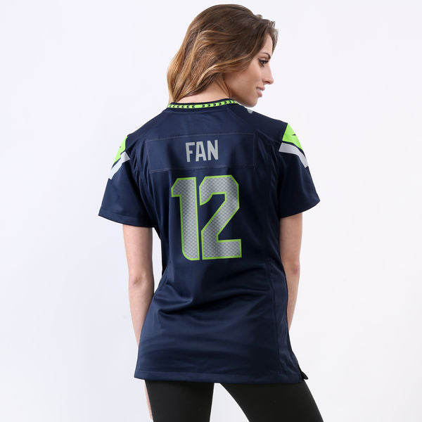 Women's Seahawks Fan 12 Navy Game Jersey (Available In store Only