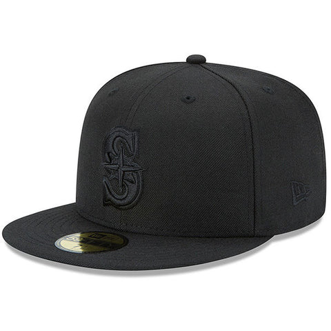 Mariners Black on Black 59FIFTY Fitted