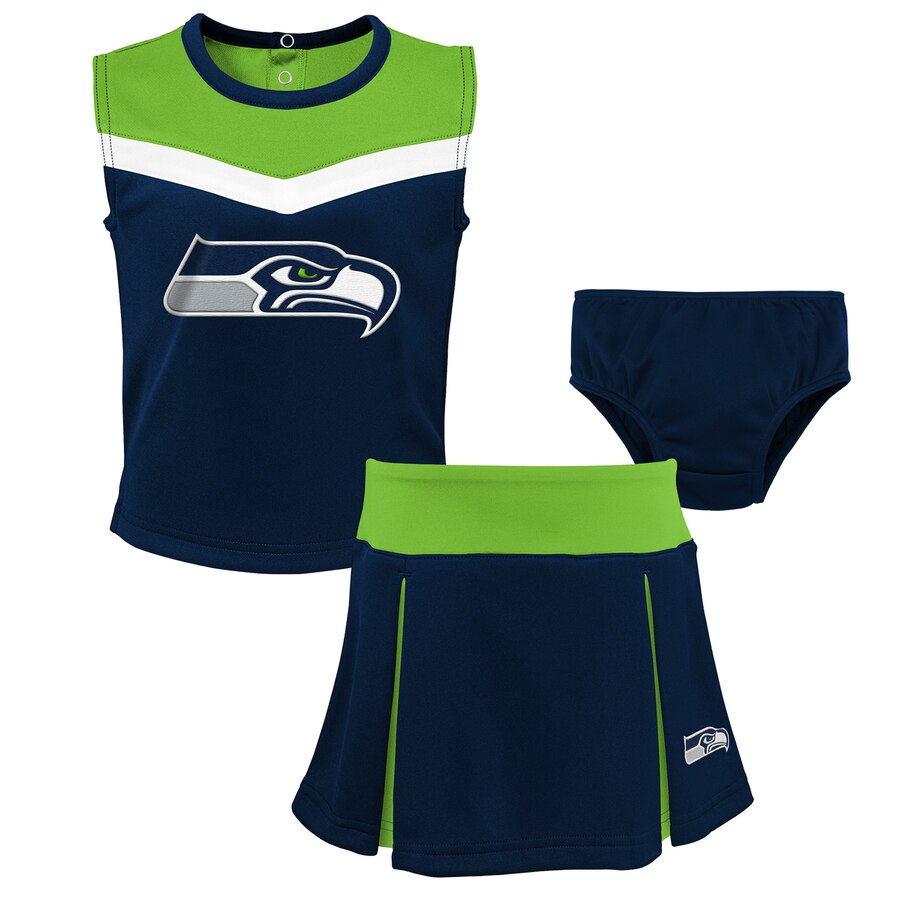 Seahawks Girls Preschool Two-Piece Spirit Cheer Cheerleader Set With Bloomers