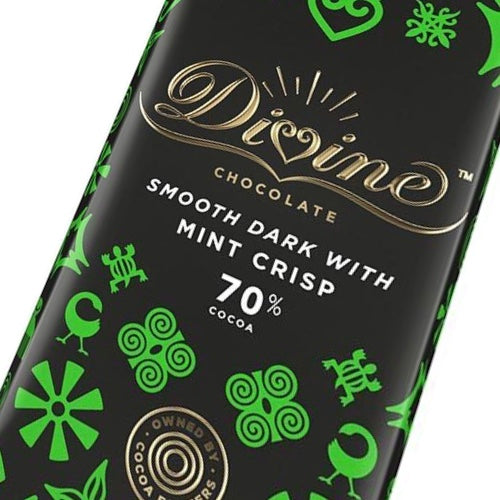 Divine 70% Dark Chocolate Bar Mint Crisp 90 grams