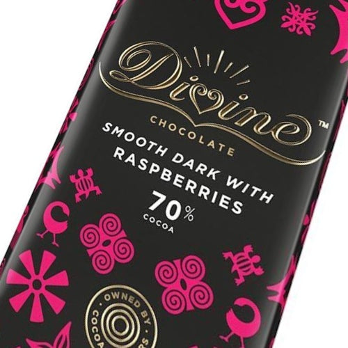 Divine 70% Dark Chocolate Bar With Raspberries 90 grams