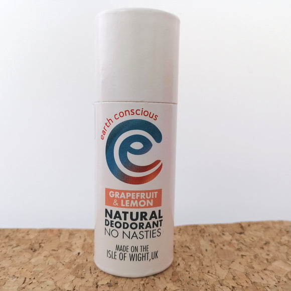 Earth Conscious Natural Deodorant  - Grapefruit & Lemon 60g