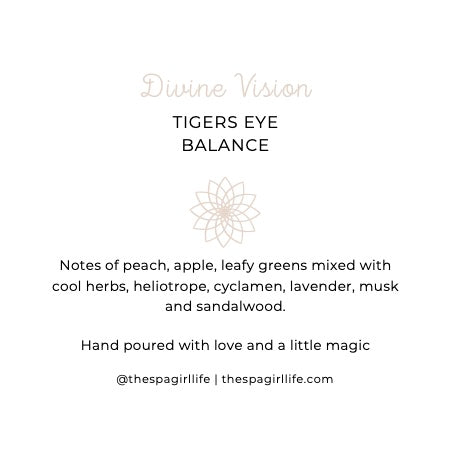 Divine Vision - Balance Candle with Two Tigers Eye Crystals - The Spa Girl Life